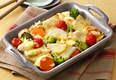 野菜と鶏肉のチーズ焼き