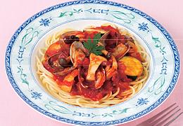 きのことあさりのトマトスパゲッティ