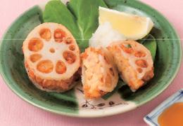 鶏肉と高野豆腐のれんこんはさみ揚げ