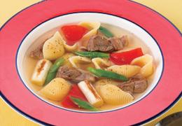 豚肉と長ねぎのスープパスタ