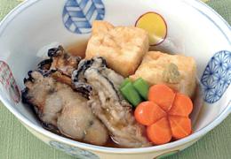 かきと豆腐の揚げだし わさび風味あんかけ