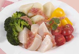 帆立と温野菜の梅ドレッシング