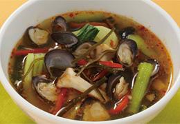 しじみとチンゲン菜のピリ辛スープ