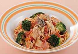 ブロッコリーと鮭のガーリックスパゲティ