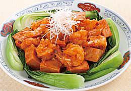 高野豆腐とえびのチリソース炒め