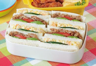 サンドイッチ(アボカドポーク、えびタルタル)