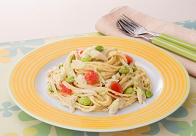 枝豆とささみのスパゲッティ