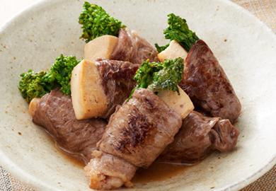 こうや豆腐と菜の花の肉巻き