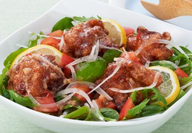 鶏のから揚げサラダ仕立て