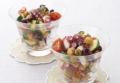 たこと豆のマスタードサラダ