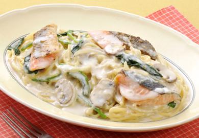 鮭のクリームスパゲッティ