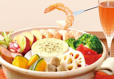 チーズフォンデュ風蒸し鍋