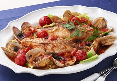 白身魚のトマトパッツア