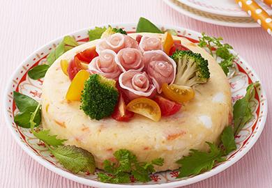 お花のポテトケーキサラダ