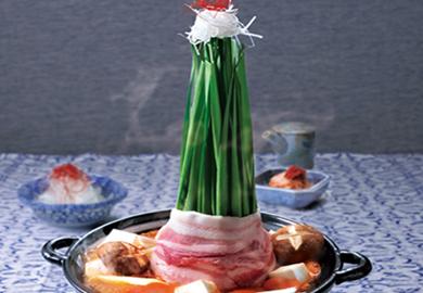 豚肉とにらのタワーキムチ鍋