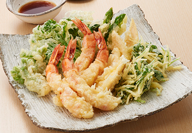 春野菜とえびの天ぷら