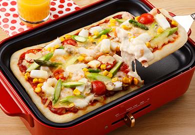 シーフードのクイックピザ