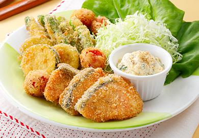 鮭と野菜のごまフライ