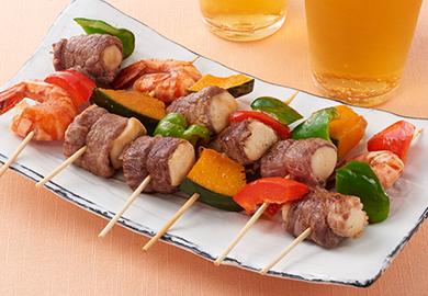 こうや豆腐と野菜の串焼き