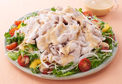 かいわれ大根と豚肉の味噌ドレサラダ