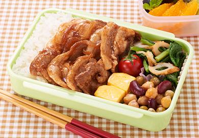 豚肉のしょうが焼き弁当(小松菜とちくわの辛子和え・ミックスビーンズのマリネ)