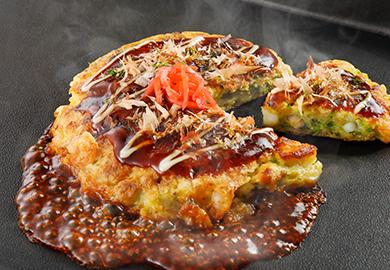 白菜と魚介のお好み焼