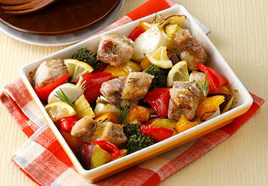 豚肉と彩り野菜のオーブン焼き