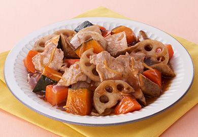 豚肉と根菜のしょうがあん炒め