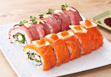 ロール寿司2種(ローストビーフ、サーモン)