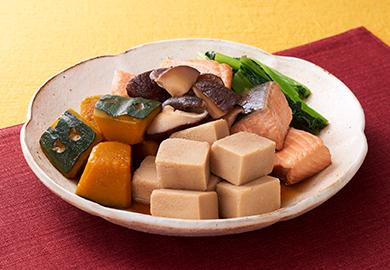 こうや豆腐とかぼちゃの煮物