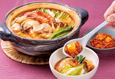 白菜と海鮮のキムチ鍋