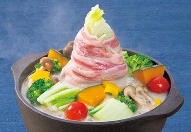 白菜と豚肉のタワー豆乳鍋
