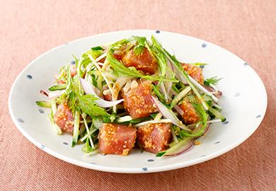 まぐろと水菜の中華サラダ