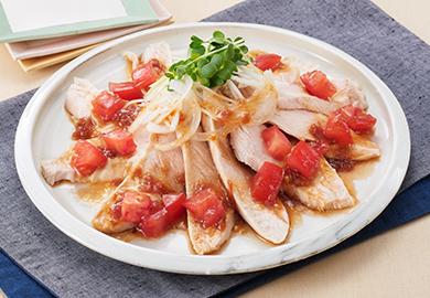 蒸し鶏の梅トマトだれ