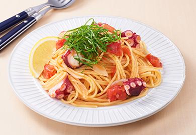 たこと大葉のトマトスパゲッティ