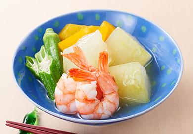 えびと夏野菜の煮物