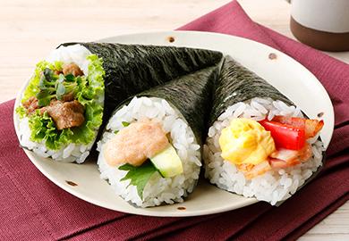 バラエティー手巻き寿司(焼肉&レタス、明太マヨ&きゅうり、たまごサラダ&ベーコン)