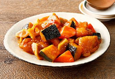 根菜とかぼちゃの酢豚