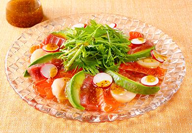 ぽん酢マスタードソースの海鮮カルパッチョ