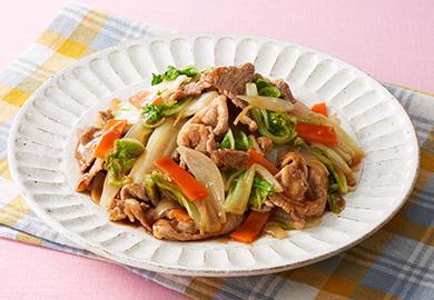 豚肉と白菜のお好みソース炒め