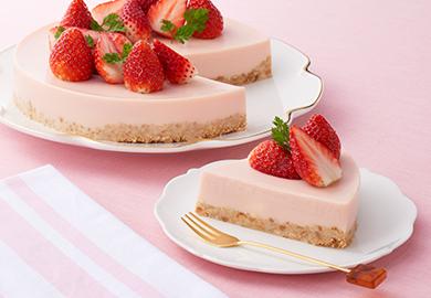 いちごカルピス入りのレアチーズケーキ