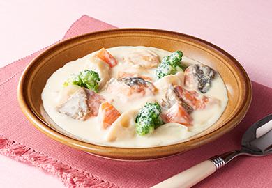 鮭とれんこんの味噌クリームシチュー