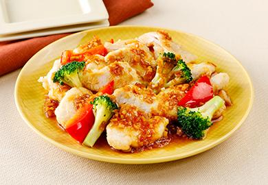 鶏ささみとブロッコリーの油淋鶏
