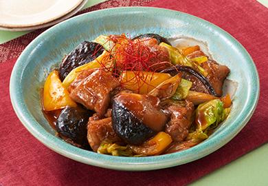 鶏肉と椎茸の甘辛炒め煮