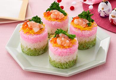 ひし餅風ミニ押し寿司