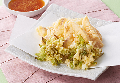 鯛と春野菜の天ぷら しょうがぽん酢添え