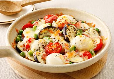 白玉と夏野菜のチーズ焼き