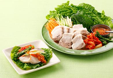 ポッサム風塩豚の夏野菜巻き