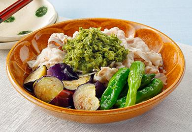 豚しゃぶと揚げ野菜の緑茶おろしのせ
