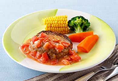 味噌トマトソースのハンバーグ